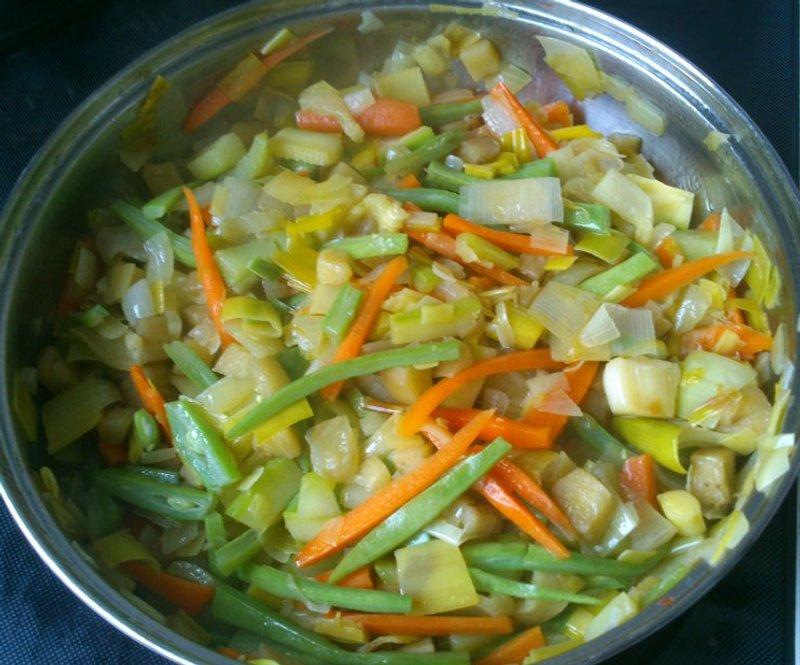 Sofrito de verduras para tallarines orientales