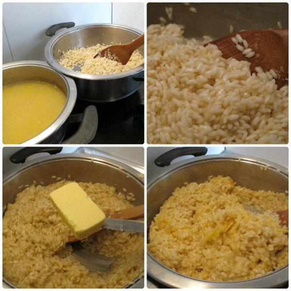 cocinando el risotto con queso