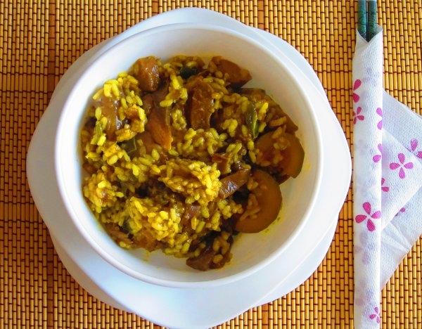 Wok de arroz con verduras al curry