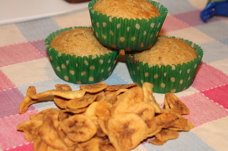 cupcakes de chocolate y plátano