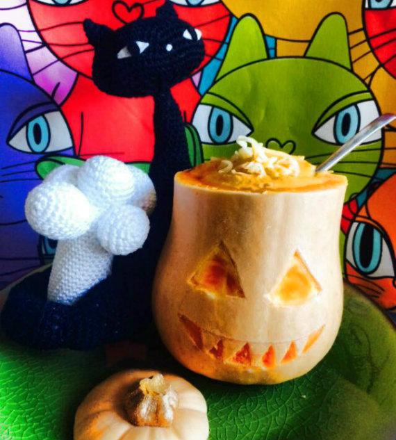 Crema de calabaza y zanahoria halloweenera