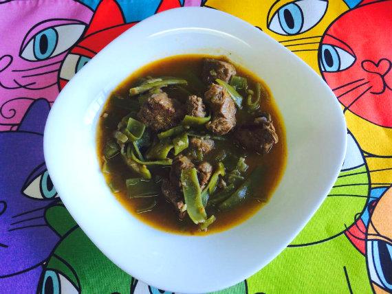 Guiso de carne de morcillo con judías verdes