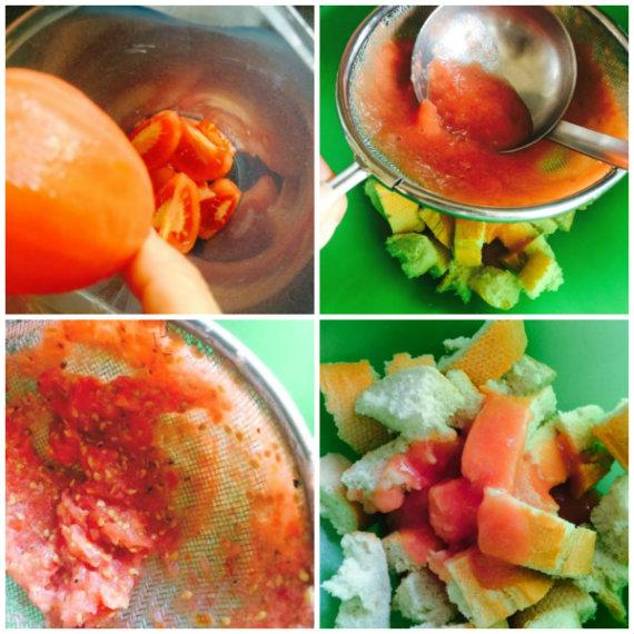 preparación del tomate y el pan para el salmorejo