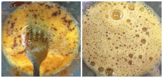 preparando el huevo para pintar las empanadillas