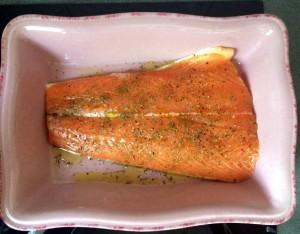 salmón sazonado para hornear