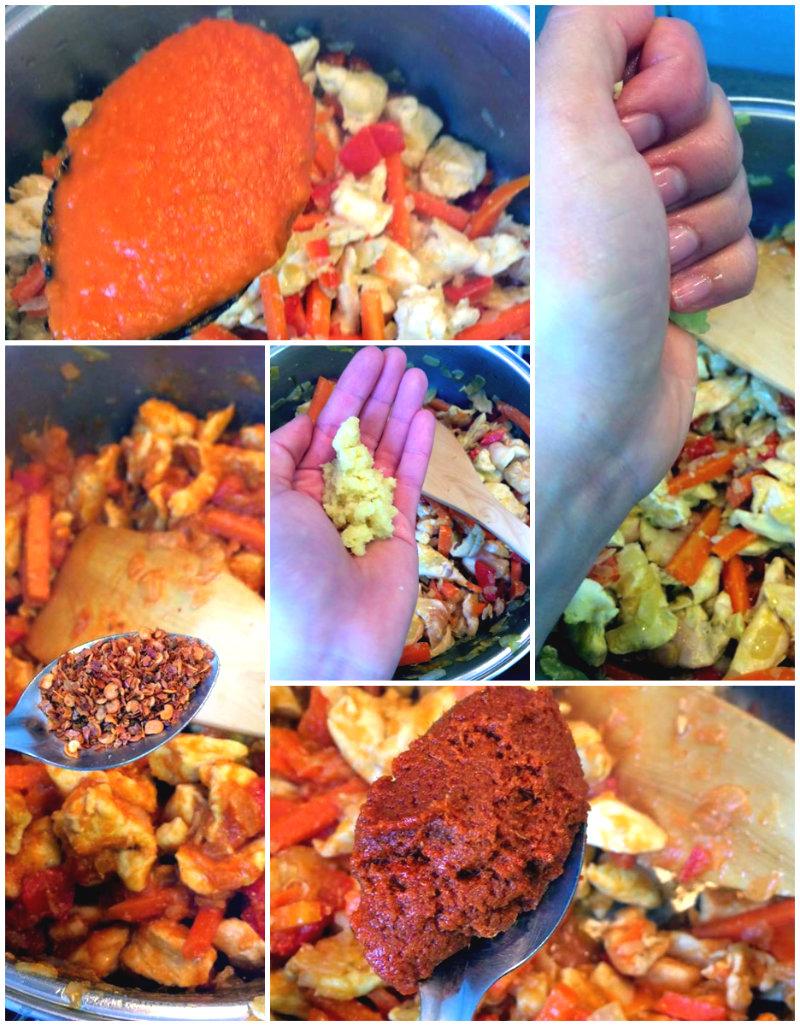 Añadiendo salsas
