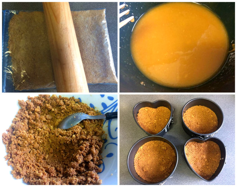 preparación-de-la-base-de-galleta-mantequilla-y-turrón