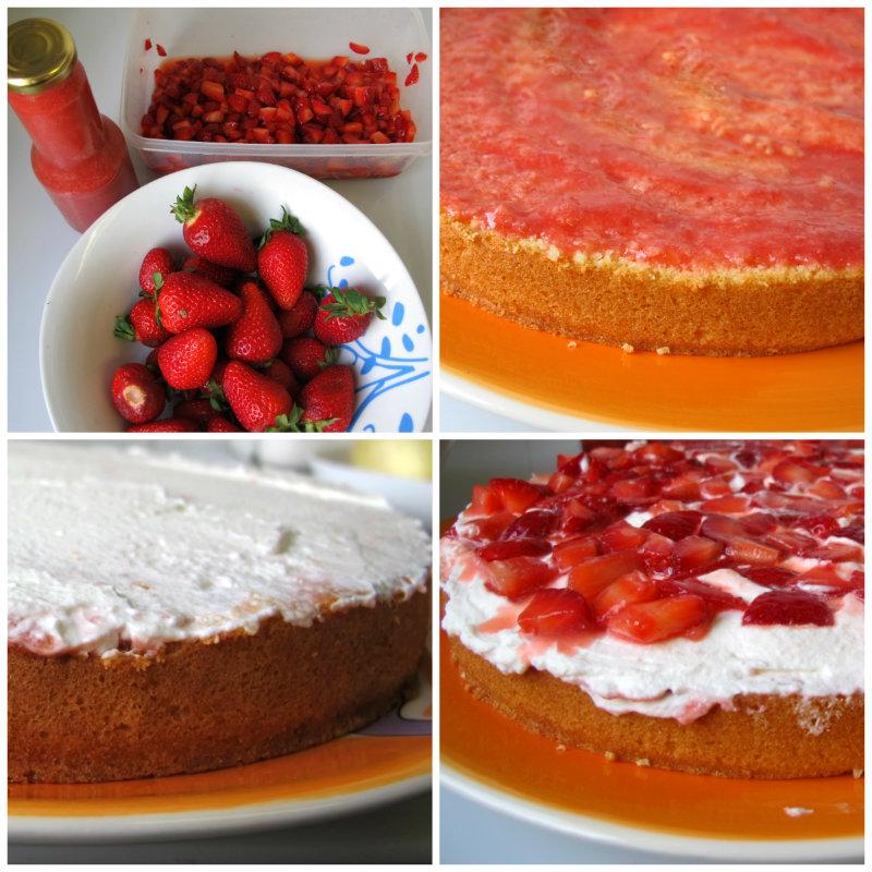 Montaje por capas tarta de fresas con nata
