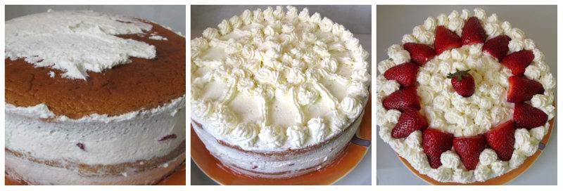 Montaje capa superior tarta de fresas con nata