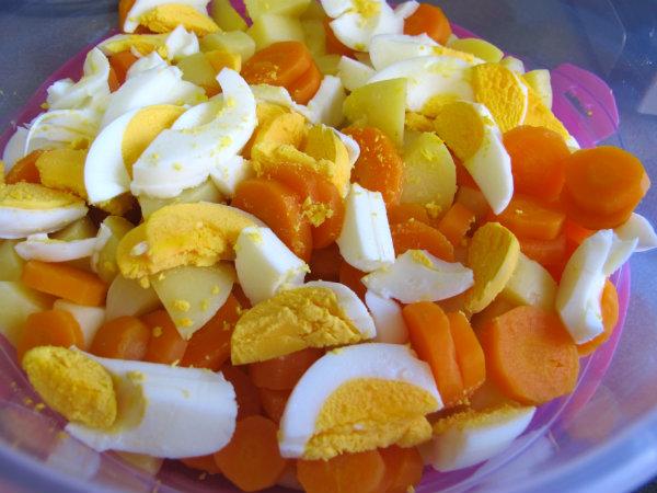 patata, zanahoria y huevo