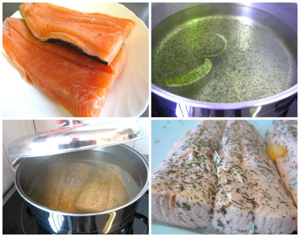 preparando el salmón
