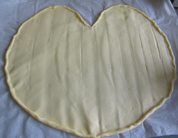 forma corazón hojaldre