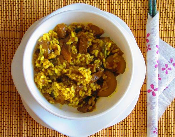 Wok de arroz con verduras al curry